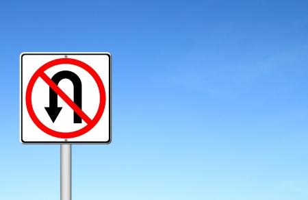 u turn: No return back road sign over blue sky blank for text