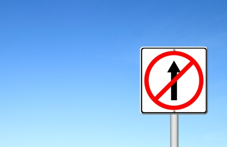 go ahead: No go ahead the way ,No forward sign with blue sky blank for text