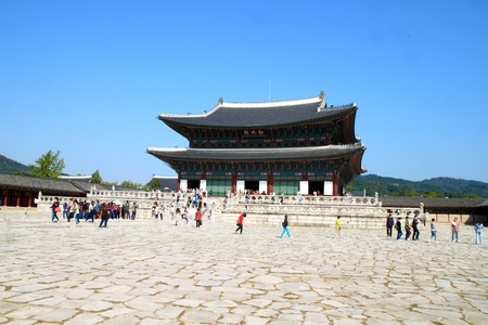 SEOUL, SOUTH KOREA - OCTOBER 4: People visit Gyeongbokgung palace on October 4,2012 in Seoul, Korea. It is the largest palace of the South Korea built by the Joseon Dynasty.