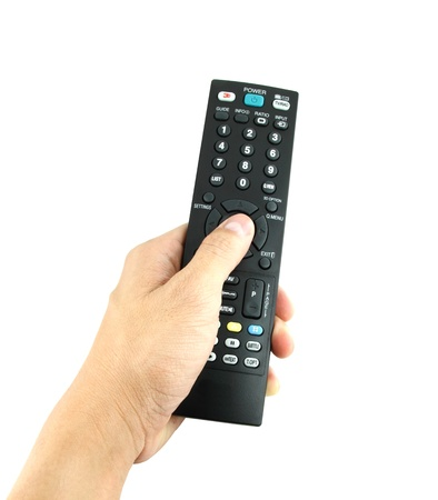 hand with remote control on white Stock Photo - 15845751