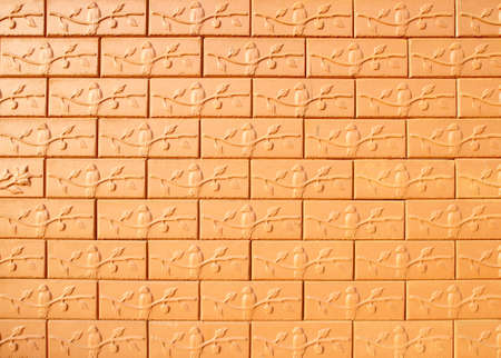 brick wall background (bird and branch texture) photo