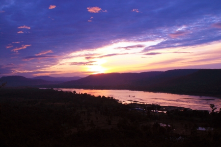 sunrise and Mekong river (view from Pha Tam park, Ubon Ratchathani, Thailand) photo