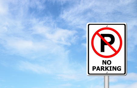 No parking sign with blue sky blank for text photo