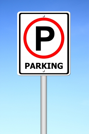 signal pole: parking sign with a blue sky
