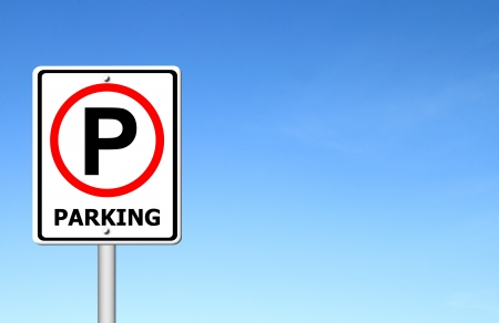 close p: parking sign over blue sky blank for text Stock Photo