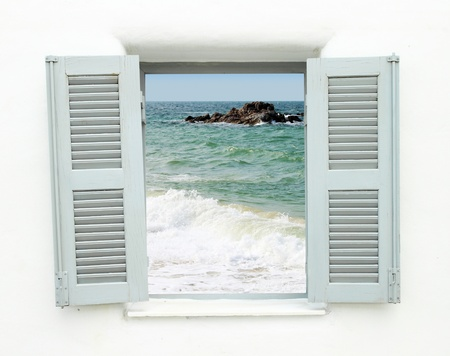 Greek style window with sea view photo