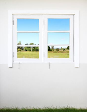 window with rural field view photo