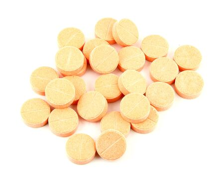 ascorbic: pill of vitamin C on white background