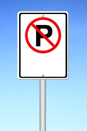 no parking sign blank for text with blue sky photo