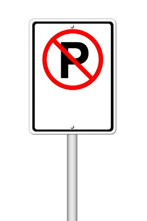 no parking sign blank for text on white background photo