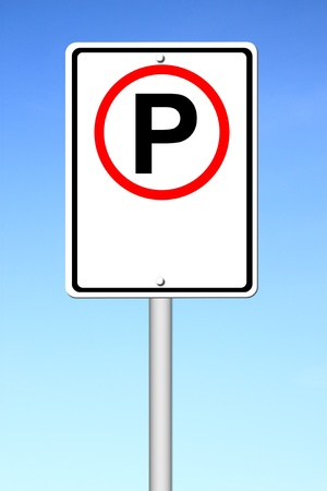 signal pole: parking sign blank for text with blue sky Stock Photo