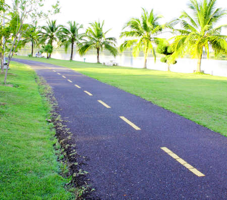 sinuous bicycle path in the park photo