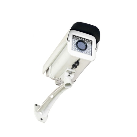 Security surveillance camera on white background