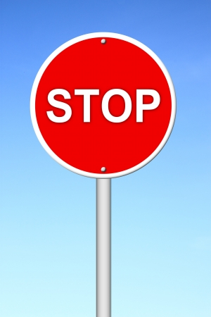 stop sign with blue sky photo