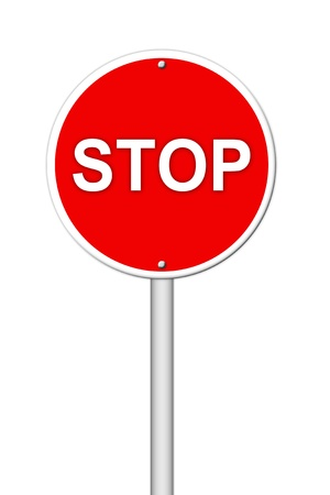 stop sign on white photo