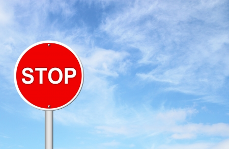 sign pole: stop sign with blue sky blank for text