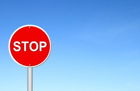 stop sign with blue sky blank for text Stock Photo - 16436583