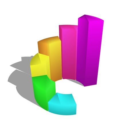 3d growth bar graph on white background photo
