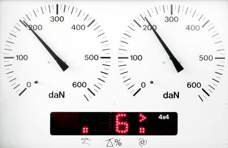 braking: panel control meter of car braking test  working status