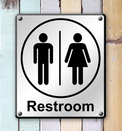 restroom sign on old colour wooden wall background photo