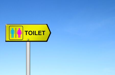toilet sign with blue sky blank for text photo