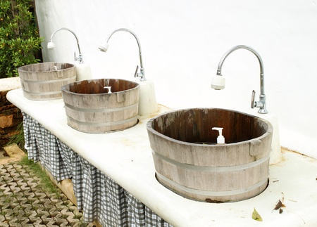 wood sinks and taps outdoor photo