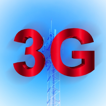 telecommunication tower: 3G symbol with mobile telecommunication tower background