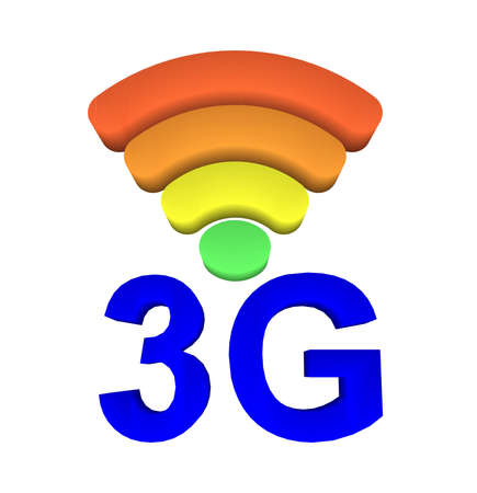 3g: 3G and signal symbol on white background