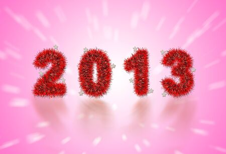 2013 New Year's symbol made of red tinsel Stock Photo - 16906537