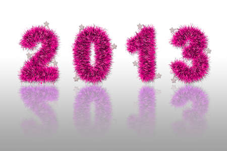 pink tinsel forming 2013 year number with shadow photo