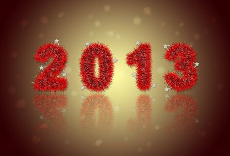 2013 New Year's symbol made of red tinsel Stock Photo - 16906534
