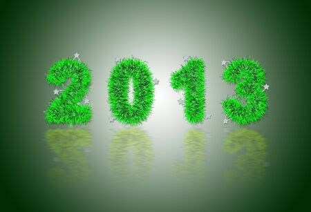 2013 New Year's symbol made of green tinsel Stock Photo - 16906531