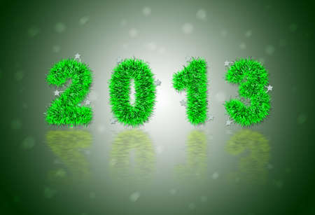 2013 New Years symbol made of green tinsel photo