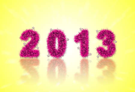 2013 New Years symbol made of pink tinsel photo