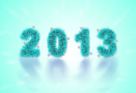 2013 New Year's symbol made of blue tinsel photo