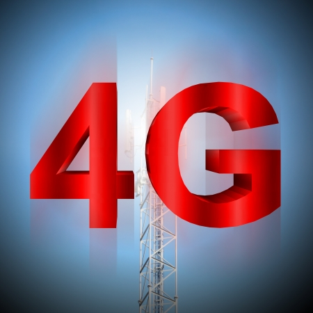 telecommunication tower: 4G symbol with mobile telecommunication tower background Stock Photo