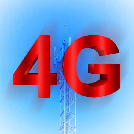 4G symbol with mobile telecommunication tower background photo