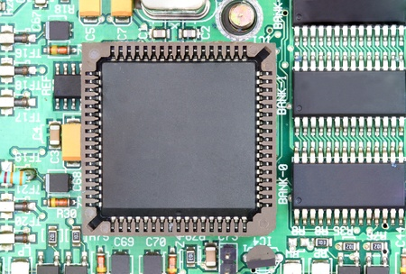 close up of CPU chip with electronic circuit board