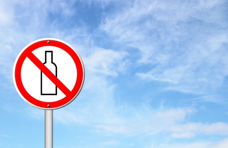 security token: no alcohol sign with blue sky blank for text Stock Photo