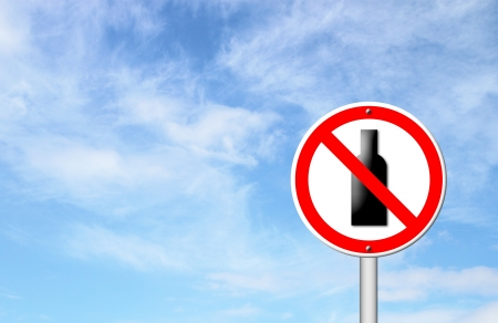 no alcohol sign with blue sky blank for text Stock Photo - 17103978