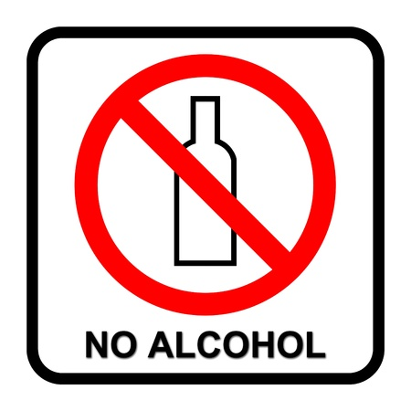 permitted: no alcohol sign on white background