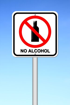 no alcohol sign with blue sky photo