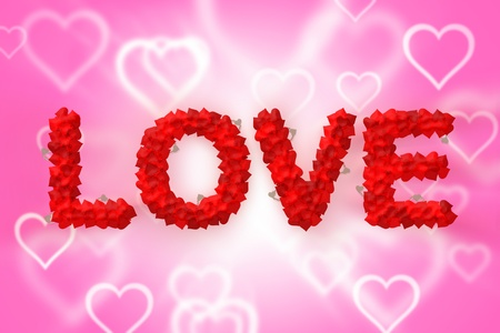 Love text made of heart shape with abstract background photo