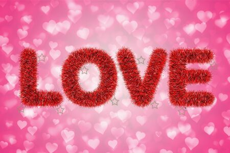 abstract of text love with tinsel pattern photo
