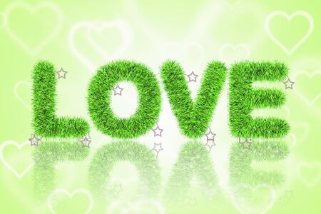 abstract of text love and shadow with tinsel pattern Stock Photo