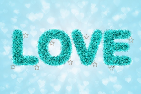 tinsel: abstract of text love with tinsel pattern