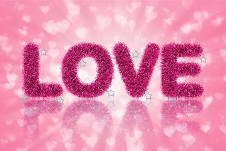 abstract of text love and shadow with tinsel pattern photo