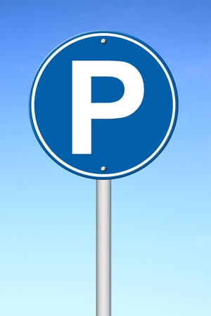 traffic signal: parking sign with a blue sky