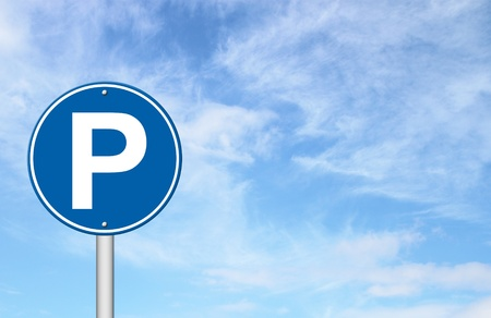 parking sign: parking sign with a blue sky blank for text Stock Photo