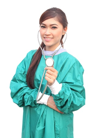 female doctor wearing a green scrubs and stethoscope on white background